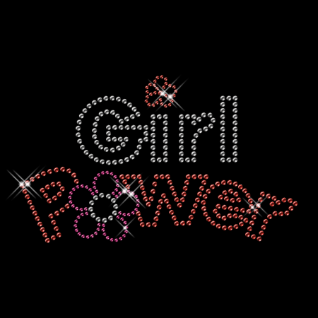 Best Custom Sparkling Red and Pink Rhinestone Girl Power Iron on Transfer Motif for Clothes