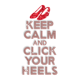 Best Custom Red Sparkling Keep Calm and Click Your High Heels Rhinestone Iron on Transfer Design for Shirts