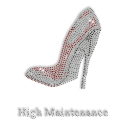 Best Custom Sparkling High Maintenance Red High Heels Rhinestone Iron on Transfer Design for Clothes