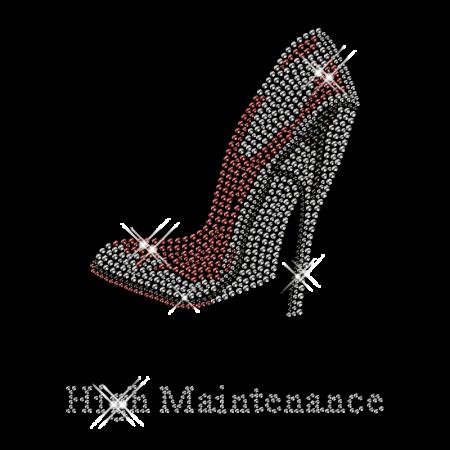 Best Custom Sparkling High Maintenance Red High Heels Rhinestone Iron on Transfer Design for Clothes