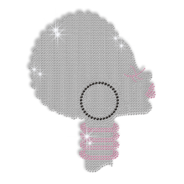 Silhouette of Sassy Afro Lady Iron on Bling Transfer Motif