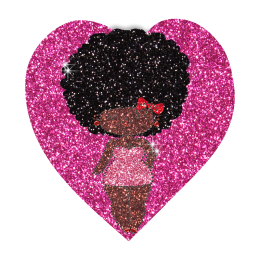 Lovely Afro Girl in Heart Hotfix Bling Transfer Motif