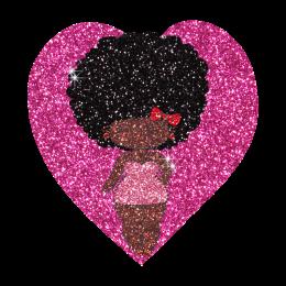 Lovely Afro Girl in Heart Hotfix Bling Transfer Motif