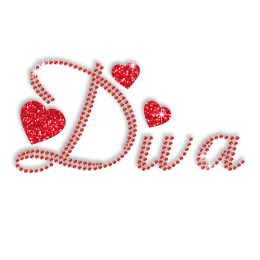 Shining Red Diva and Hearts Bling Iron on Pattern