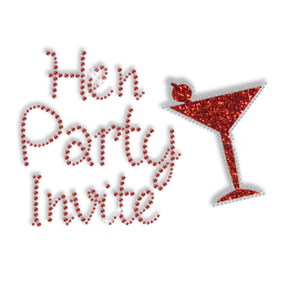 Sparkle Hen Party Invite Bling Iron ons for Shirts
