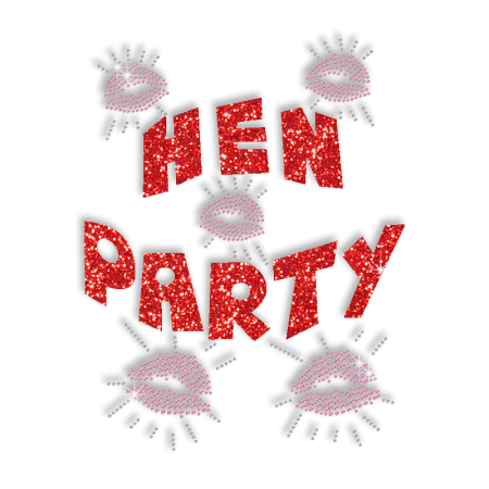 Red Word of Hen Party and Kisses Hotfix Glitter Motif