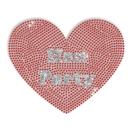 Hen Party and Red Heart Hotfix Bling Transfer