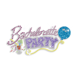 Colorful Happy Bachelorette Party Iron-on Rhinestone Transfer