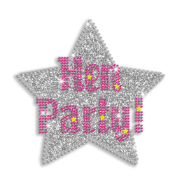 Pretty Hen Party Star Iron-on Glitter Rhinestone Transfer