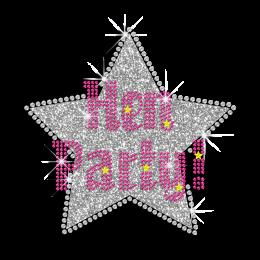 Pretty Hen Party Star Iron-on Glitter Rhinestone Transfer