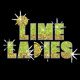 Bright Lime Ladies Iron on Glitter Rhinestone Transfer
