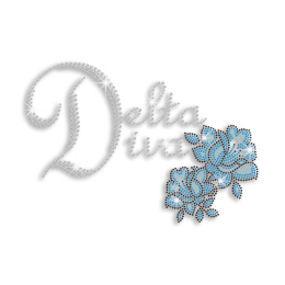 Bling Delta Diva & Flower Iron-on Nailhead Rhinestone Transfer