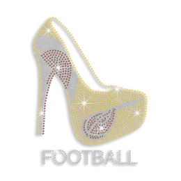 Bling High Heel & Football Iron-on Nailhead Hotfix Transfer