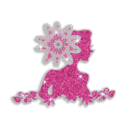 Pink Lady Bust with Flowery Hair Iron-on Glitter Rhinestone Transfer
