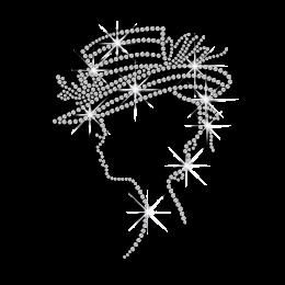 Crystal Lady in Hat Iron-on Rhinestone Transfer