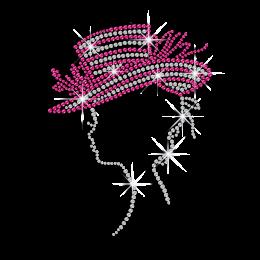 Pretty Lady in Pink Hat Hot-fix Rhinestone Transfer