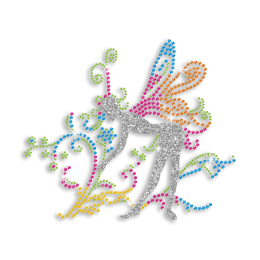 Colorful Lady with Wings Iron-on Rhinestone Transfer
