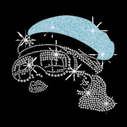 Trendy Lady Wearing Aqua Hat Heat Press Rhinestone Transfer