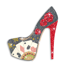 Magic Show Casino Lady's High Heels with Cards & Dice Iron on Transfer
