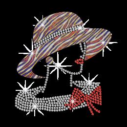 Zebra Pattern Hat Lady Hotfix Rhinestone Transfer