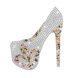 Fleur De Lis High Heel Iron-on Rhinestone Transfer