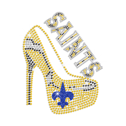 Saints Fleur De Lis High Heel Iron on Rhinestone Transfer