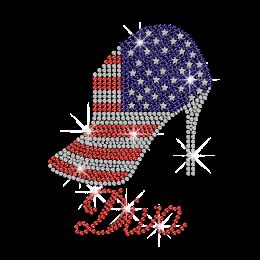 Bling American Flag Diva High Heel Iron on Rhinestone Transfer