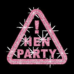 Pink Hen Party Iron-on Rhinestone Glitter Triangular Design