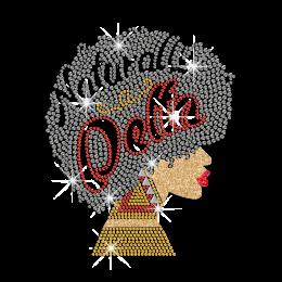 Naturally Delta Afro Girl Hotfix Rhinestud & Glitter Transfer