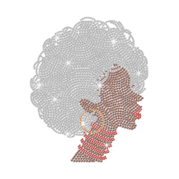 Shining Afro Lady with Curly Grey Hair Iron on Rhinestone Design