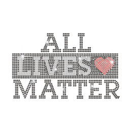 All Lives Matter Iron on Rhinestone Transfer Decal