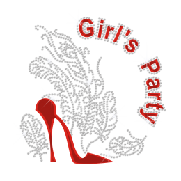 Bling Heels for Girl's Party Design Iron on Holofoil Rhinestone Transfer Decal