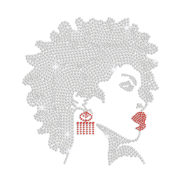 Sparkling Afro Girl with Sexy Red Lips Iron on Rhinestone Transfer Motif