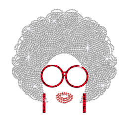 Bling Afro Girl with Shiny Glasses And Earrings Holofoil Rhinestone Iron On