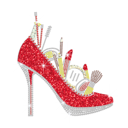 Sparkling Red Heels with Cosmetics Holofoil Glitter Rhinestone Iron On