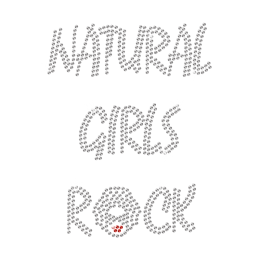 Crystal Natural Girls Rock with Sexy Lips Rhinestone Iron On