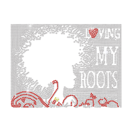 Bling Afro Girl Loving My Roots Iron on Rhinestone Transfer Motif