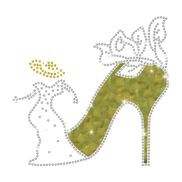 Magic Show Dancing Lady with HOLOFOIL High Heel Iron-on Rhinestone Transfer Pattern