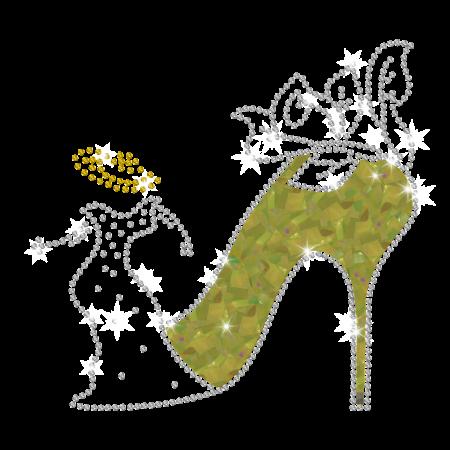 Magic Show Dancing Lady with HOLOFOIL High Heel Iron-on Rhinestone Transfer Pattern