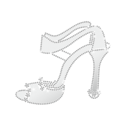 Magic Show Lady Noble High Heel Iron On Rhinestone Transfer Design