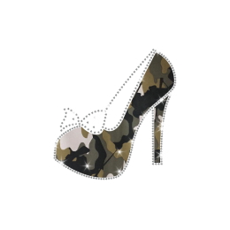 Magic Show Heat Press High Heel with Rhinestone Bowknot Transfer Motif