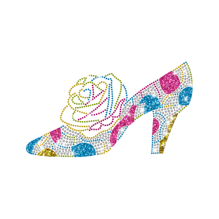 Magic Show Colorful High Heel Iron-on Rhinestone Transfer with Blooming Rose