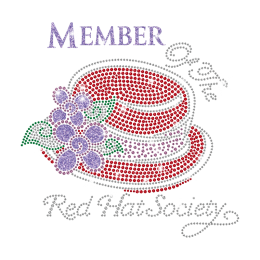 Wholesale Member of The Red Hat Society Hot Fix Rhinestone Transfer Design on Magic Show