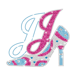 Colorful High Heel Iron On Rhinestone Transfer with Small Nailhead Heart for Magic Show