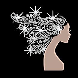 Long Hair Lady Holofoil Rhinestone Designs for Female Love
