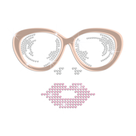 Bling Sunglasses and Red Lip Holofoil Rhinestone Decal with Rhinestud