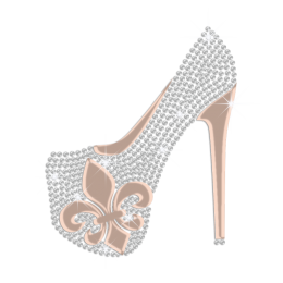 Custom Dazzling High Heels Holofoil Rhinestone Motif