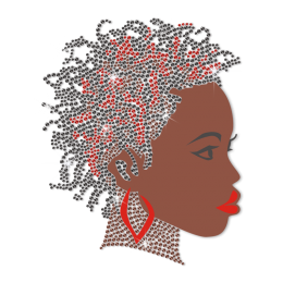 ISS Black Woman with Earring Rhinestud Decal
