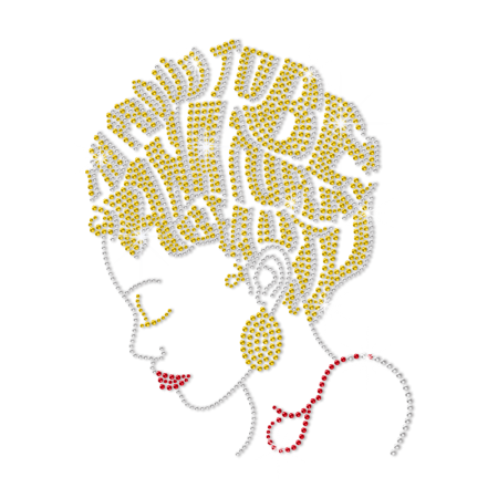 ISS Beautiful Afro Girl Rhinestud Motif