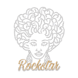 ISS Rock Star Afro Girl Rhinestud Motif